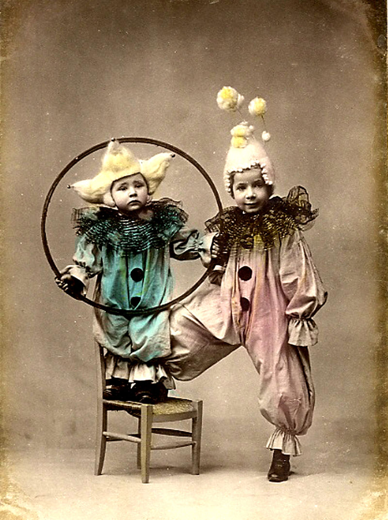 Clown two children cute outfits