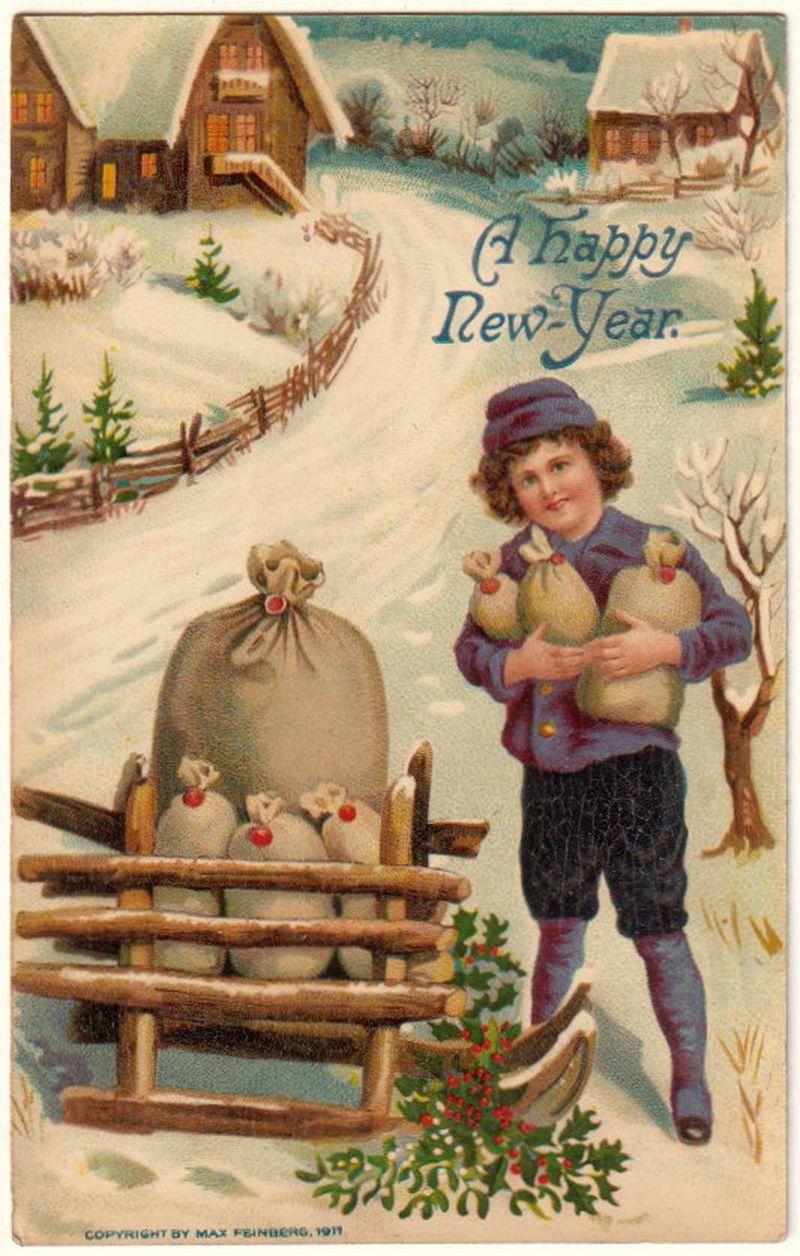 Postcard boy in winter scene with sled full of bundles